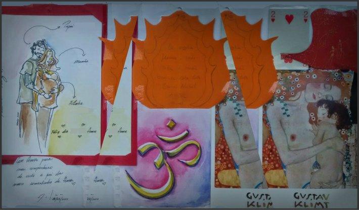 Colagem e aguarelas (casal e AUM) Paloma Villela\Postal: fragmento de uma pintura do Klint.
