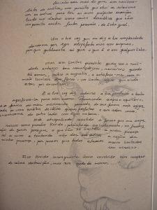 Desenho sobre cartão: Paloma Villela\ Escrito de auto desconhecido.